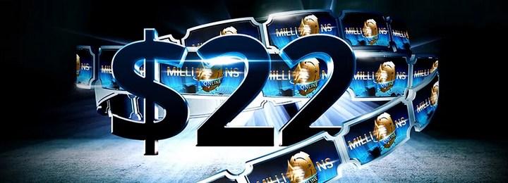 Приветственный бонус $22 от рума Party poker
