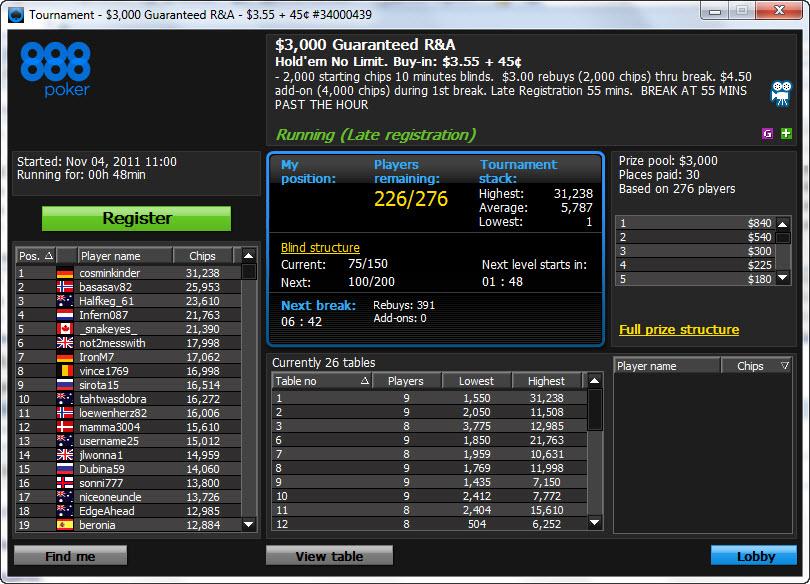 888 Poker Venues